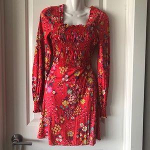 Vintage floral polyester swing dress